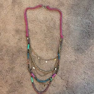 Multi strand colorful beaded necklace